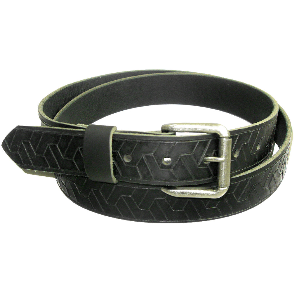 Mens Handmade Genuine Solid Geometric Weave Embossed Buffalo Leather Belt 1.25""