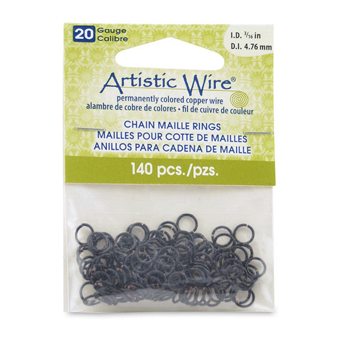 20 Gauge Artistic Wire, Chain Maille Rings, Round, Black, 3/16 in (4.76 mm), 140 pc