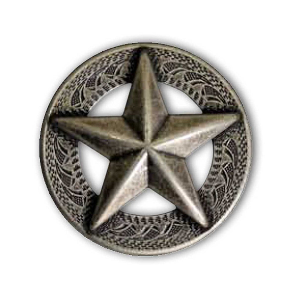 3-D Texas Star Concho Old Silver - 2 Sizes