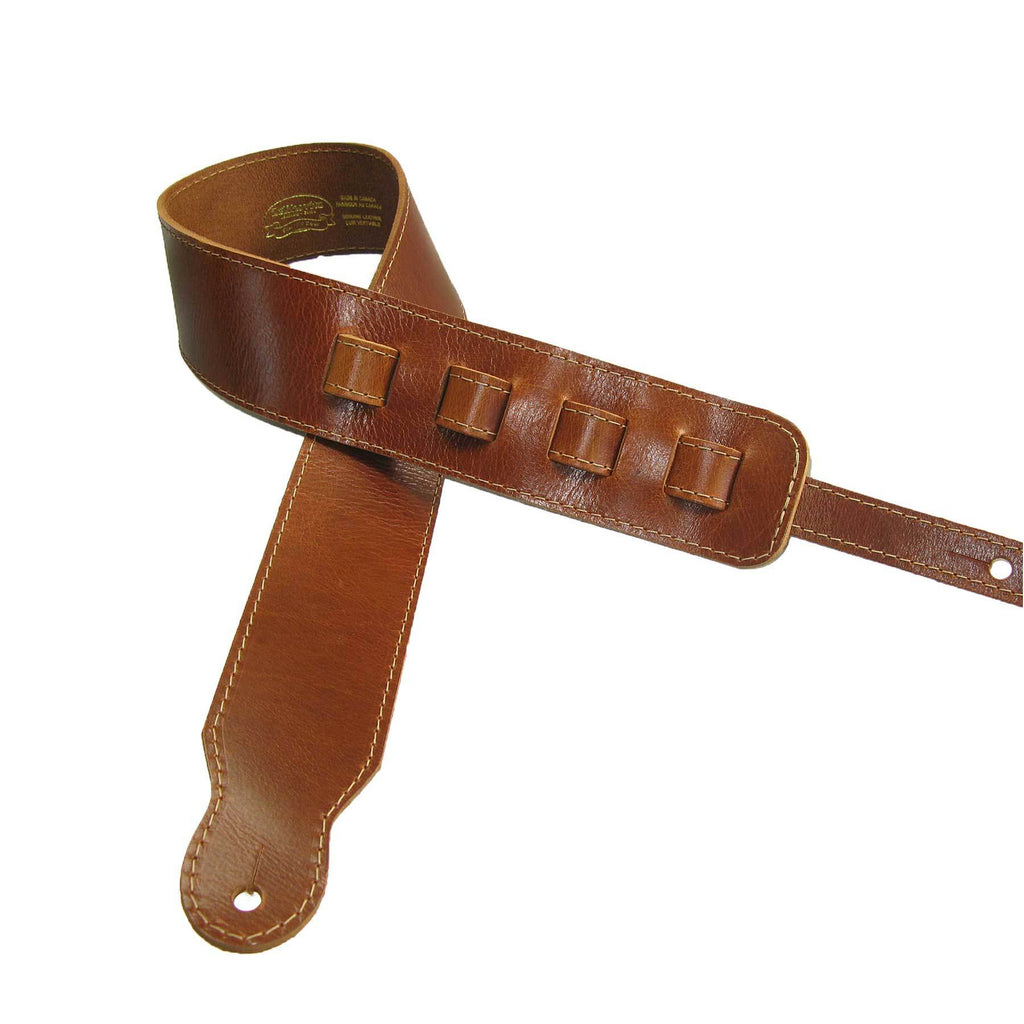 Adjustable Guitar Strap II Full Grain Cowhide Leather Stitched Acoustic or Electric - Tan