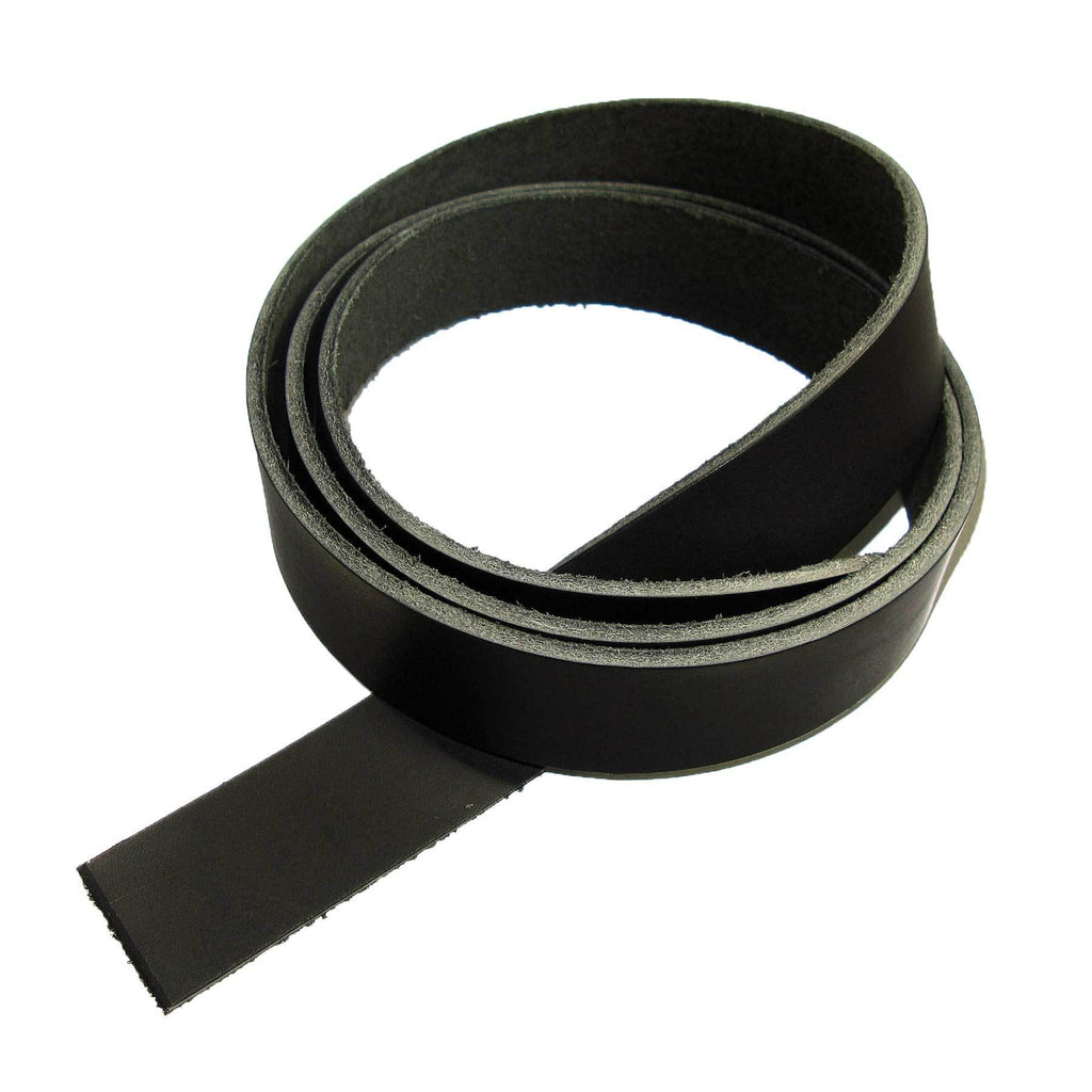 "Genuine Vegetable Tanned Leather Strip Black 1-1/4"" Tooling and Stamping"