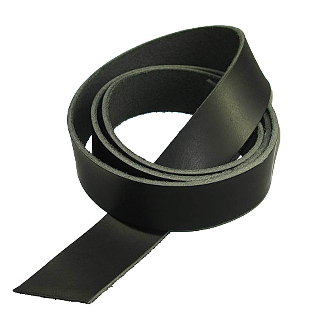 "Genuine Vegetable Tanned Leather Strip Belt Blank Black 1-1/2"" Tooling and Stamping"