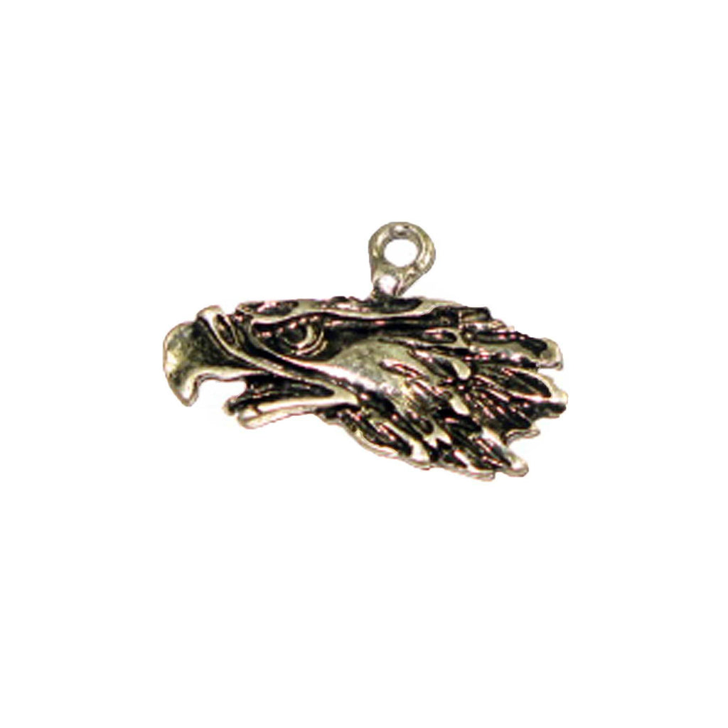 Pendant - Eagle Head Large Antique Silver Lead Free Nickel Free