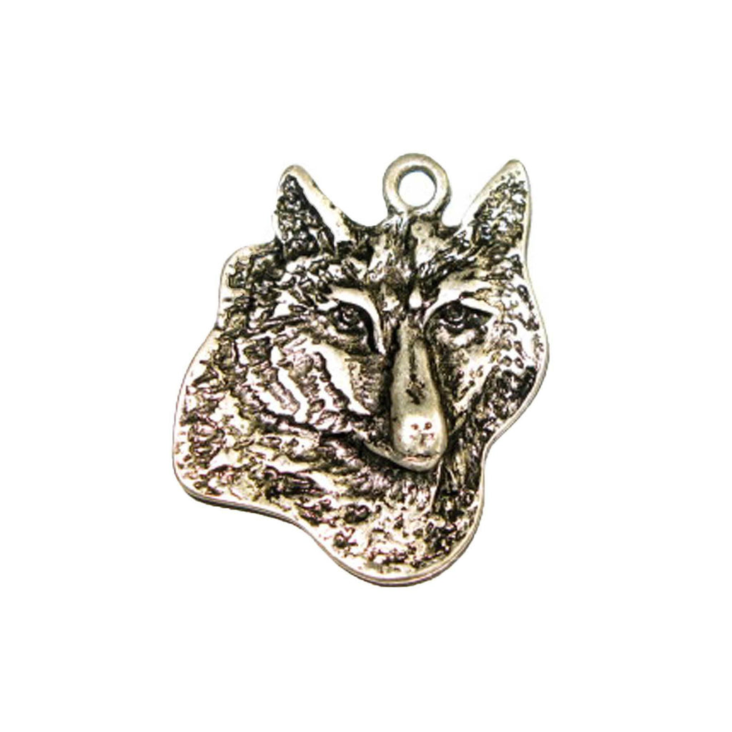 Pendant - Wolf's Head Large Antique Silver Lead Free Nickel Free