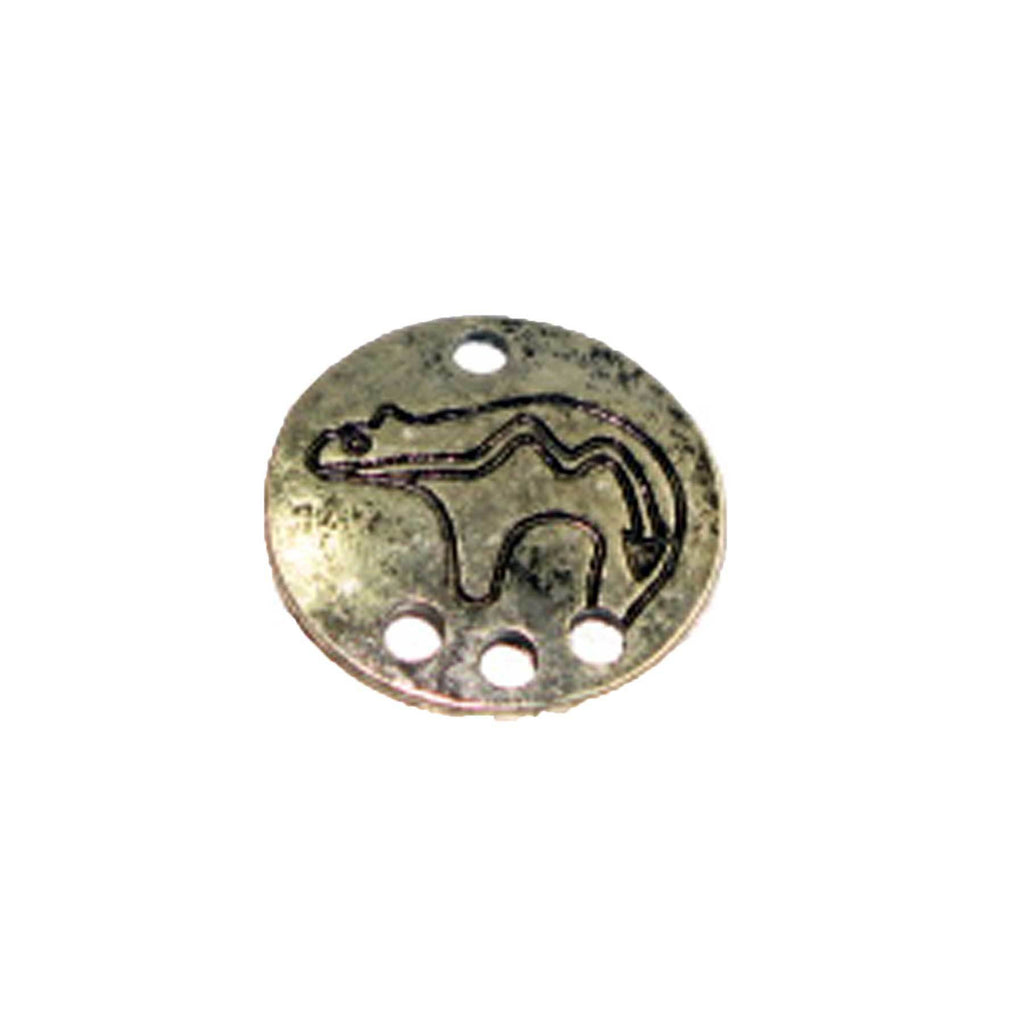 Pendant - Animal Shield 4 Holes Antique Silver Lead Free Nickel Free
