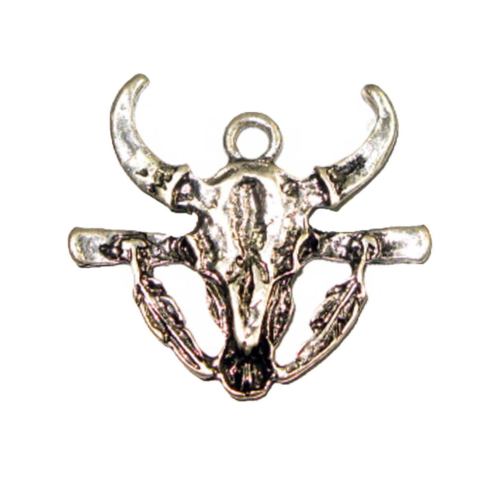 Pendant - Bull's Head with Feathers Antique Silver Lead Free Nickel Free