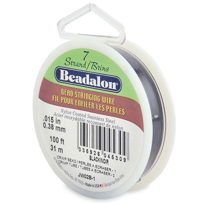 7 Strand Stainless Steel Bead Stringing Wire, .015 in, Black, 100 ft