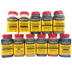 Zeli Pro Waterbased Leather Pigment Dye 4 Ounce Bottles
