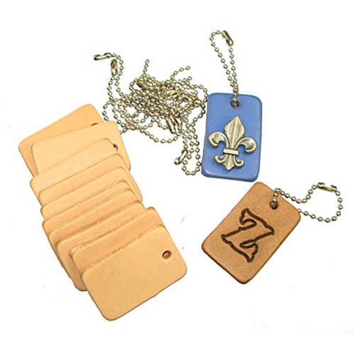 Key Fob Kit 10 pack - Pre-Punched Vegetable Tanned Tooling Leather with Bead Chain