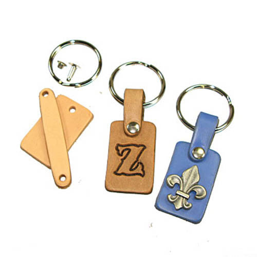 Key Fob Kit - Pre-Punched Vegetable Tanned Tooling Leather with Bead Chain