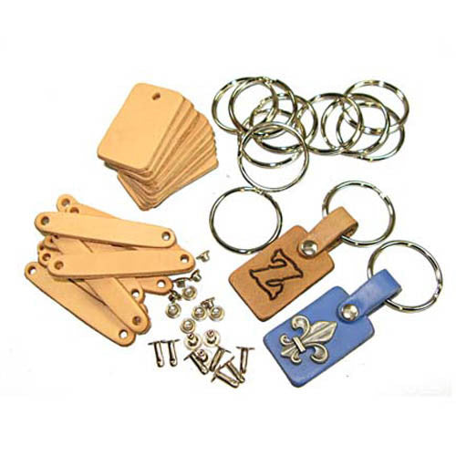 Key Fob Kits 10 pack - Pre-Punched Vegetable Tanned Tooling Leather with Key Ring and Rivet