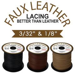"Faux Leather Lace 3/32"" 50 yd TAN"