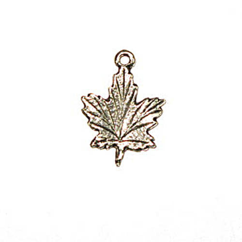 Pendant Maple Leaf - Ant.Silver - 15*20mm