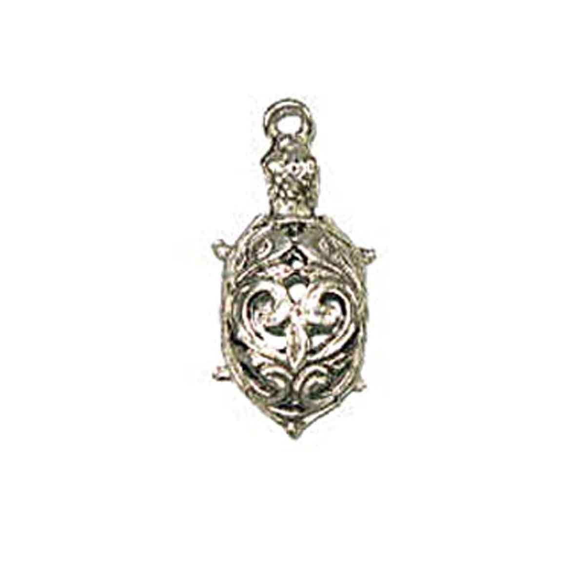Pendant - Filigree Turtle 25mm Antique Silver