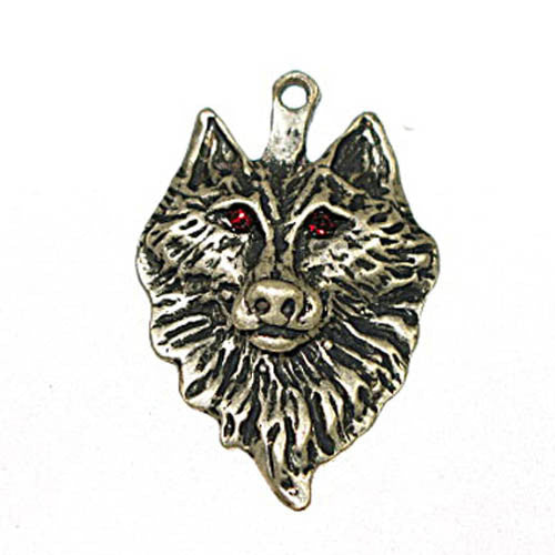 Image of 32601189-2 - Wolf W/Green Eyes Antique Silver Nicke/Lead Free