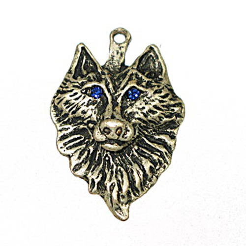 Image of 32601189 - Wolf W/Blue Eyes Antique Silver Nicke/Lead Free