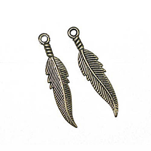Pendant Feather 40mm Antique Silver