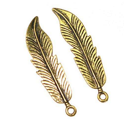 Pendant Feather 44X10Mm  Antique Gold Lead Free