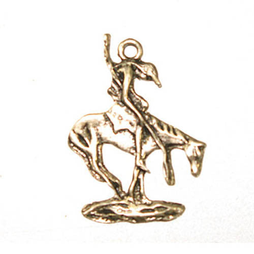 Native Horse w/spear Pendant - Ant. Silver -LF/NF