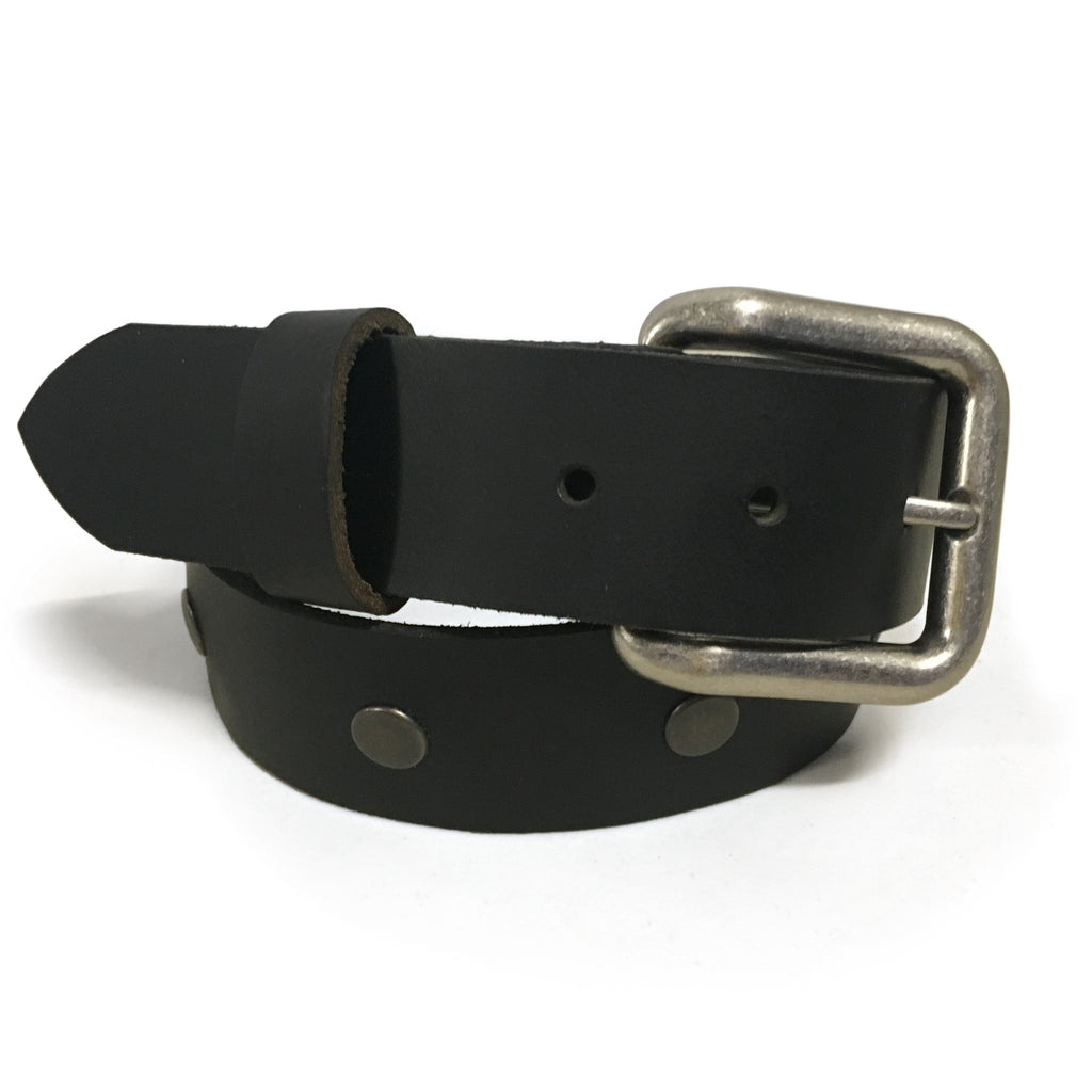 "1 1/2"" Studded Buffalo Leather Belts Black"