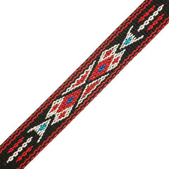 "Image of 73501028-00 - 3/4"" Woven Hitched Webbing Trim - Black/Red - 5 Feet"