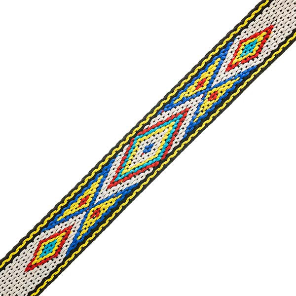 "3/4"" Woven Hitched Webbing Trim - White/Yellow - 5 Feet"