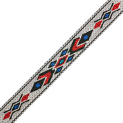 "Image of 73501028-02 - 3/4"" Woven Hitched Webbing Trim - White/Black - 5 Feet"