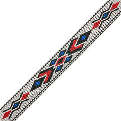 "Image of 73501028-04 - 3/4"" Woven Hitched Webbing Trim - White/Blue - 5 Feet"