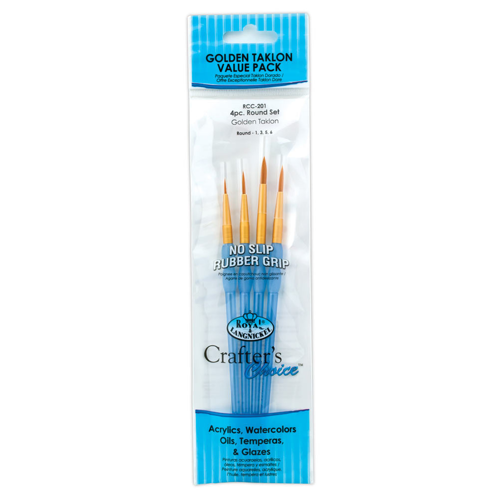 ROYAL BRUSH RCC201 Crafter's Choice Gold Taklon Round Brush Set