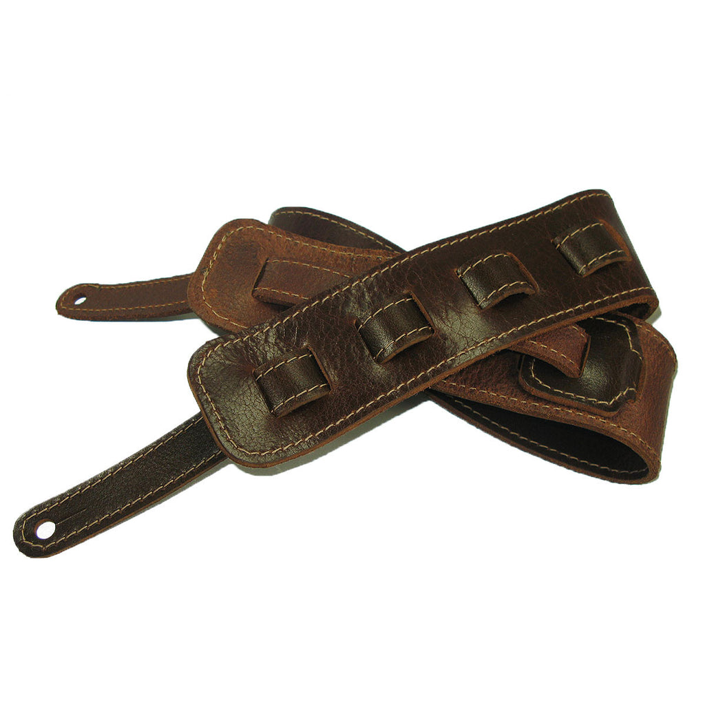 Guitar Strap Full Grain Cowhide Stitched - Mahogany