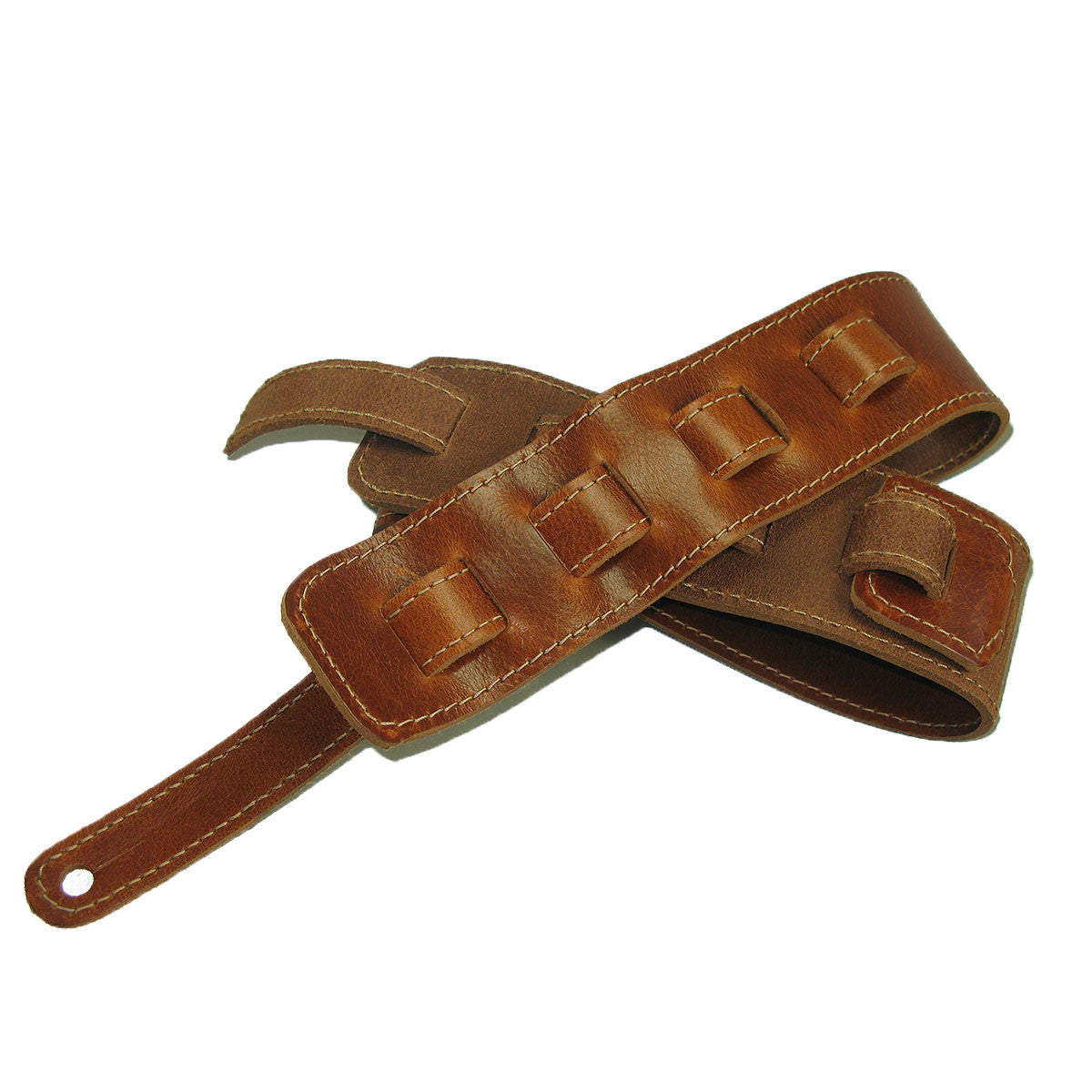 Guitar Strap Full Grain Cowhide Stitched - Tan