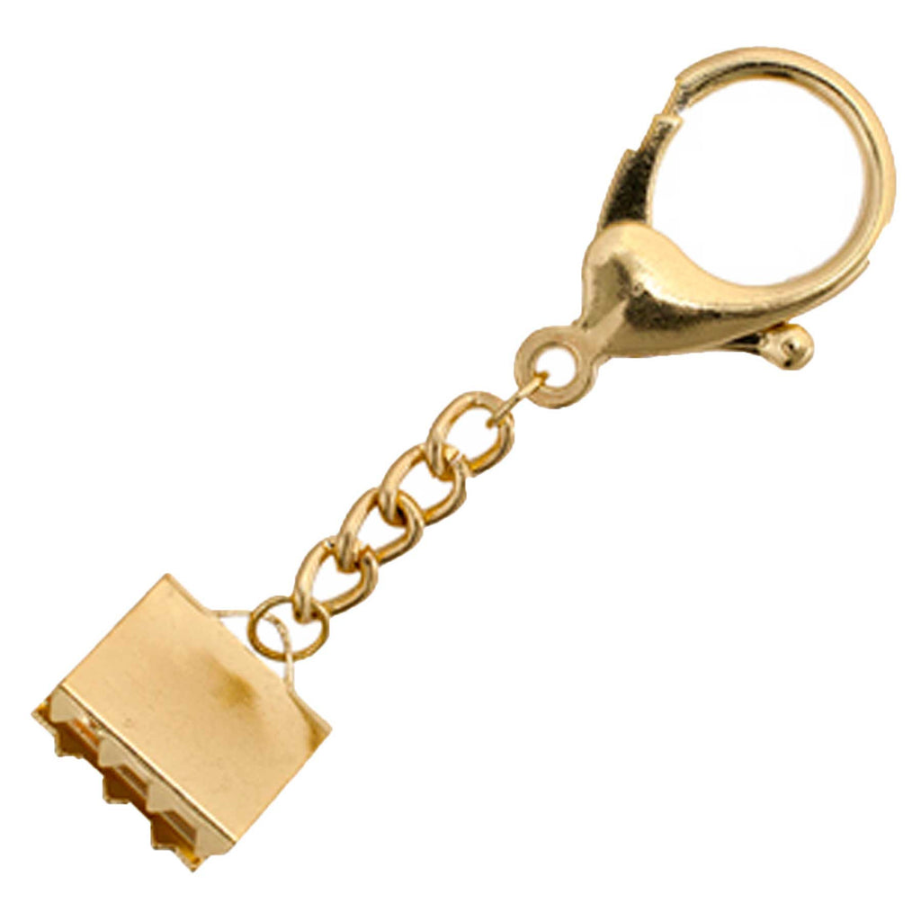 Key Chain-Lobster Trigger with Ribbon Cord End 18x17mm Gold Finish