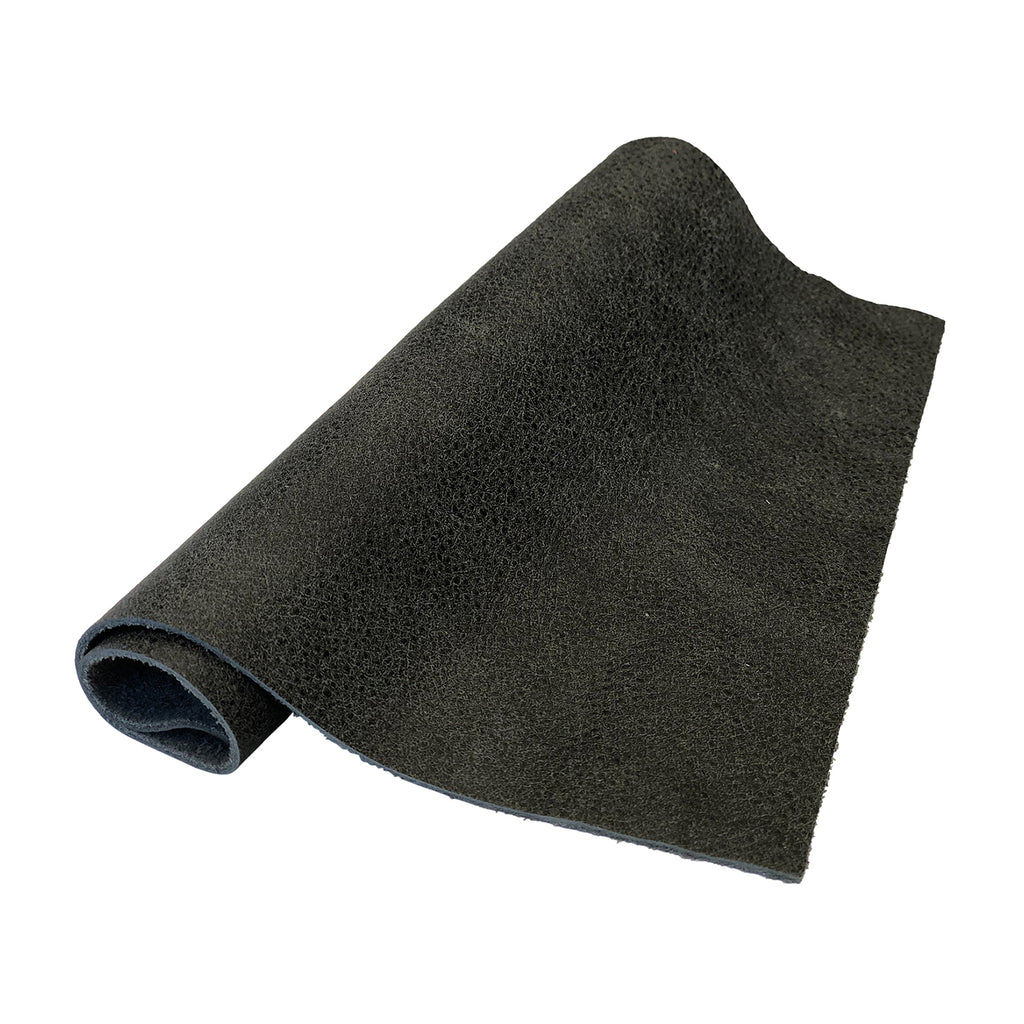 "Pre-Cut Graphite Aviator Style Cowhide Leather Project Piece 12"" x 24"" 3oz 1.2mm"