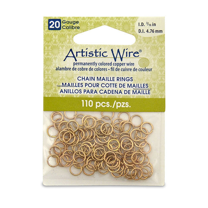 20 Gauge Artistic Wire Chain Maille Rings Round Brass 3/16 in (4.76 mm) 110pc