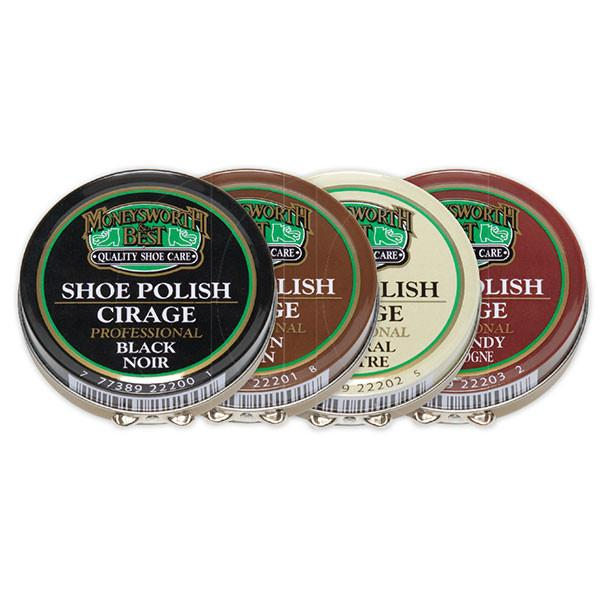 Moneysworth and Best Tin Wax Shoe Polish 70g / 2.5oz - 4 Colors