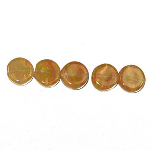 Pressed Glass Beads Flat Round 8mm Khaki
