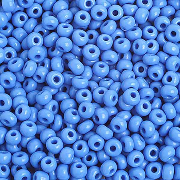 Image of 65401623 - 6/0 Opaque Medium Blue Glass Seed Beads 40 Grams