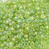 Image of 65402406 - 6/0 Lime Rainbow Glass Seed Beads 40 Grams