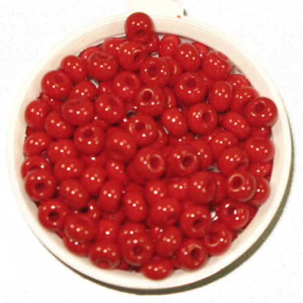 6/0 Med/Dark Red Glass Seed Beads 40 Grams