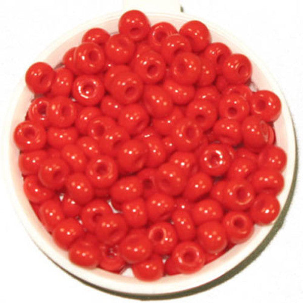 6/0 Med Red Glass Seed Beads 40 Grams