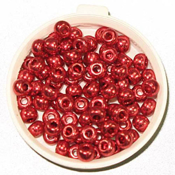 6/0 Metallic Red Glass Seed Beads 40 Grams