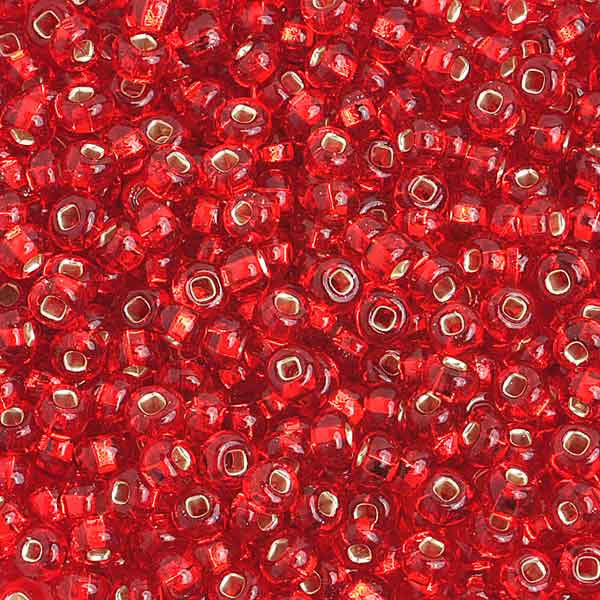 6/0 S/L Red Glass Seed Beads 40 Grams