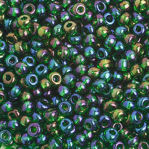 6/0 Tr. Dark Green Ab  Glass Seed Beads  40 Grams