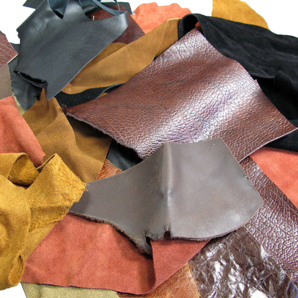 5 LB Mixed Cow Hide Leather and Suede Scrap Pieces Asst Colors Sizes and Weights
