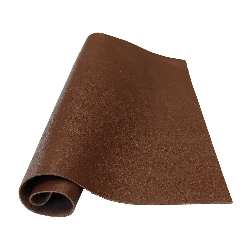 "Pre-Cut Medium Brown Cowhide Leather Project Piece 12"" x 24"" 3oz 1.2mm"