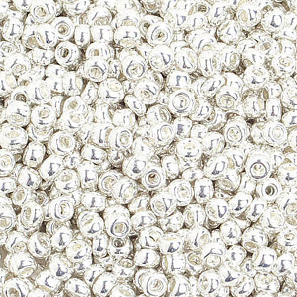 8/0 Metallic Silver  Czech Seedbeads 40 grams
