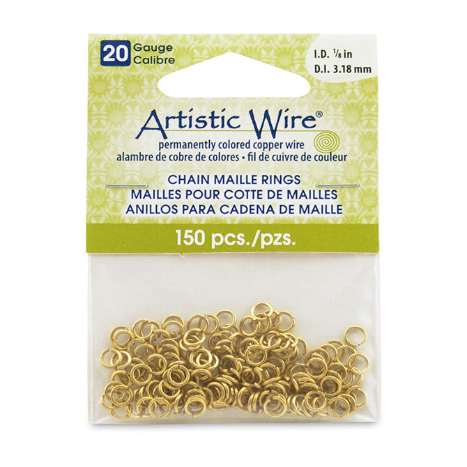 20 Gauge Artistic Wire, Chain Maille Rings, Round, Tarnish Resistant Brass, 1/8 in (3.18 mm), 150 pc