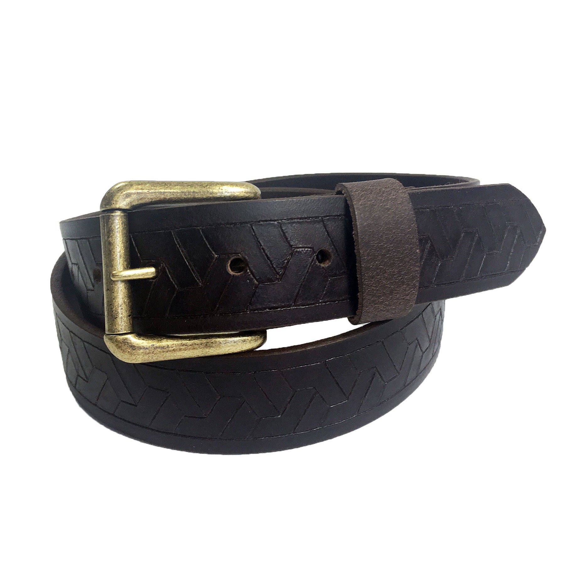 Mens Handmade Genuine Solid Geometric Weave Embossed Buffalo Leather Belt 1.5""