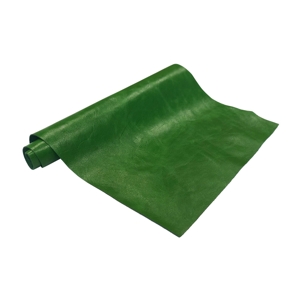 "Pre-Cut Green Cowhide Leather Project Piece 12"" x 24"" 3oz 1.2mm"