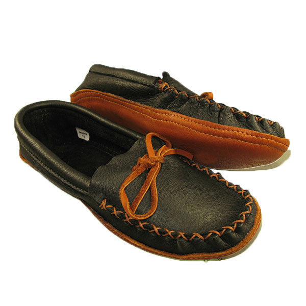 Men's Moose Hide Moccasin Double Sole - Black